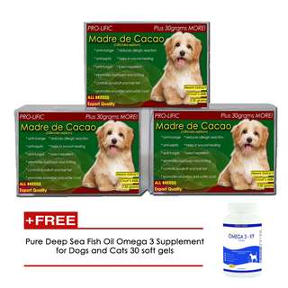 Madre De Cacao Anti-galis Pet Soap 135grams (set of 3) with free Pure Deep Sea Fish Oil Omega 3 Supplement 30 Soft Gels