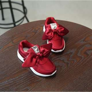 Little girls bowtie silk cloth casual shoes