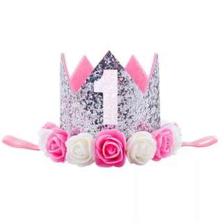 🚚 Instock - 1st Birthday crown, baby infant toddler girl children cute so pretty lalalala so pretty
