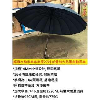 (現貨)1秒脱水雨傘 超潑水不沾水納米  快乾 半徑27吋16骨加大防風自動長傘