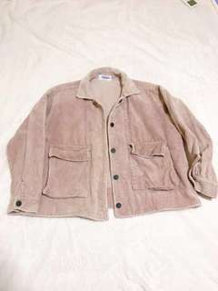 Dusty Pink Distressed Corduroy / Velvet Ribbed Cuffed Outerwear Jacket Button Down Korean Ulzzang Streetwear Collared Oversized