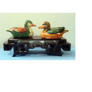 Vintage hand crafted hand painted Mandarin ducks pair display wood stand c. 1960