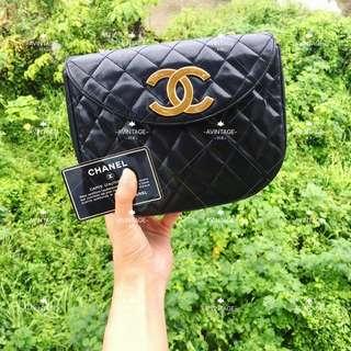 (SOLD)Chanel Vintage 黑色羊皮大CC斜孭袋