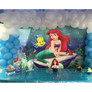 ARIEL MERMAID #Customize Custom BANNER Personalised Personalized Backdrop Background