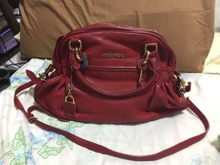Miu miu red leather back