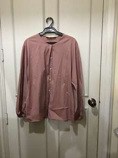 Zara Old Rose Long Sleeves with Button Detail