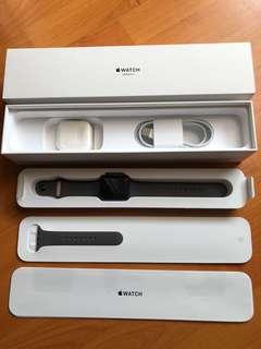 Apple Watch Series 3 42mm Space Gray Aluminium Black Sport Band Garansi Dec Mulus Full Set