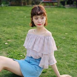 🚚 520214日韓女裝預購 一字露肩喇叭袖雪紡上衣 尺寸SML 款式:粉/藍 💰:450$
