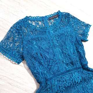 Teal Lace Dress Samlin