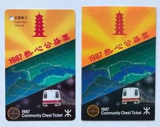 地鐵 1987年 熱心公益票一張