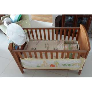 Baby Cot - solid wood including matrass and bedding