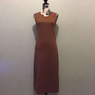 Brown textured midi dress
