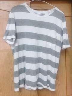 🚚 購於日本 SIMPLCITE灰色條紋短袖T恤上衣