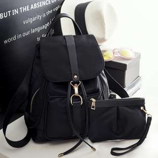 2 in 1 Black Korean Casual Water Repellant Bucket Style Backpack
