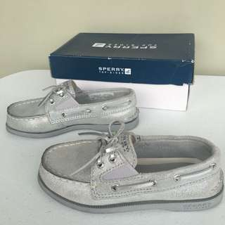 Sperry toddler slip on silver sparkle