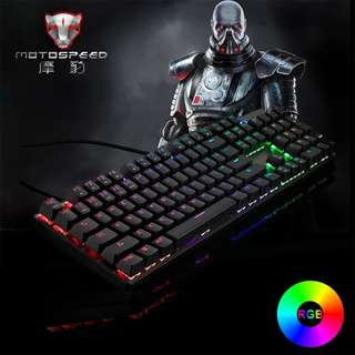 MOTOSPEED CK104 Russian RGB Mechanical Keyboards Gaming PC Computer Keyboard Metal LED Backlight USB Wired for Overwatch LOL CF Silver Blue switch
