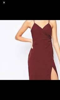 Bardot burgundy maroon maxi split dress
