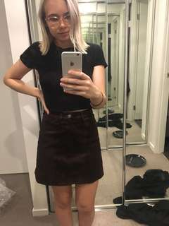 Brown velvet festival skirt