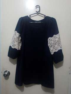 Navy Blue Dress with Lace Detail