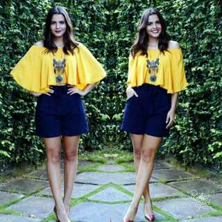 🍃Yellow Top and Short Casual Terno Set