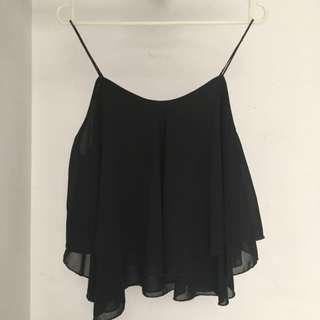 Frill black camisole