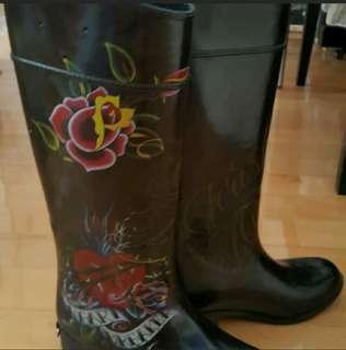 9成新美國Christian Audigier Rain Boots水鞋 雨靴