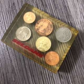 Seldane coins in acrylic