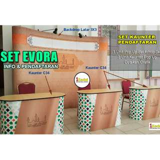 Set Kaunter + Backdrop Pop-Up Evora