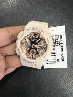 Medium Size Nude Pink GMAS120MF Casio Gshock Watch Shiny Rose Gold with FREE DELIVERY