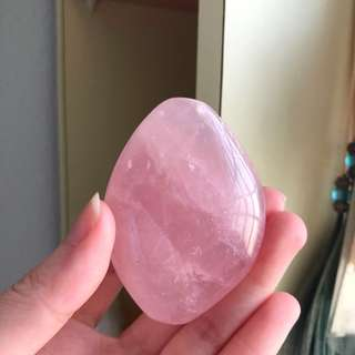 Rose Quartz Crystal Polished Palm Stone