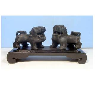 Vintage Rare Shoushan Stone Foo Dogs Pair Hand Carved Wood Stand early 1900s