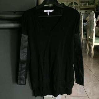 BCBGeneration sweater with leather sleeves