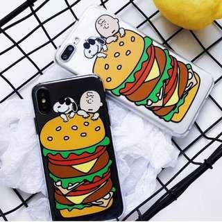 (Y)手機殼IPhone6/7/8/plus/X : 史努比漢堡包全包邊透明軟殼