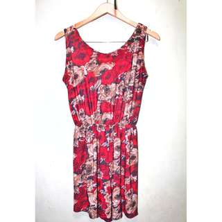 Red Floral Sleeveless Rompers for ladies