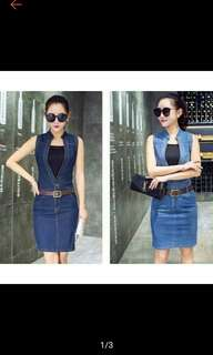 Casual Sleeveless Soft Denim Dress with Belt (Ships in 5-7days)