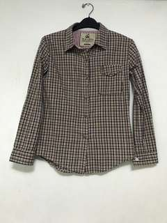 Brown Checkered Longsleeves Polo
