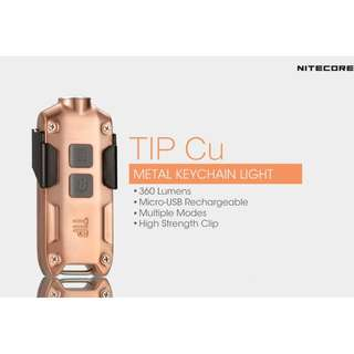 Nitecore TIP Copper XP-G2 S3 360 Lumens USB Rechargeable Keychain Light