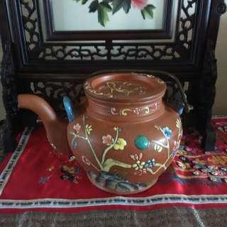 Colourful handpainted zisha teapot