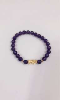 現貨3D硬金貔貅襯天然紫水晶(6mm)手鍊