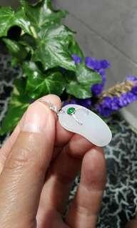 😍 天然水潤A貨翡翠拖鞋仔💚  🎀 配襯18K白金鑲鑽石+翡翠小綠蛋