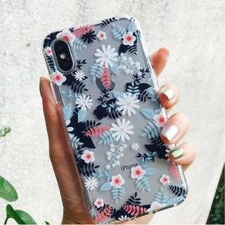 (Y)手機殼IPhone6/7/8/plus/X : 少女心花花系列全包邊透明軟殼