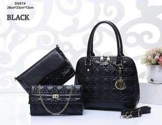 Dior Handbag 3 in 1 Black Color