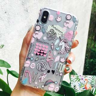 (Y)手機殼IPhone6/7/8/plus/X : 少女心獨角獸全包邊透明軟殼