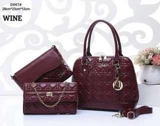 Dior Handbag 3 in 1 Wine Color