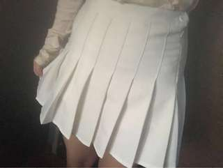 White pleated Japanese school skirt