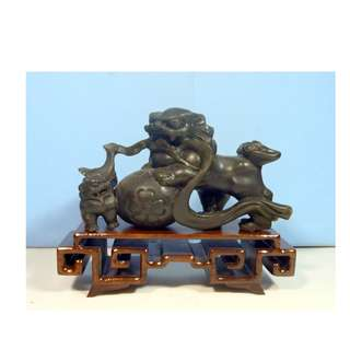 Antique Shoushan Stone Foo Dogs Pub Ball Exotic Wood Stand circa early 20 centur