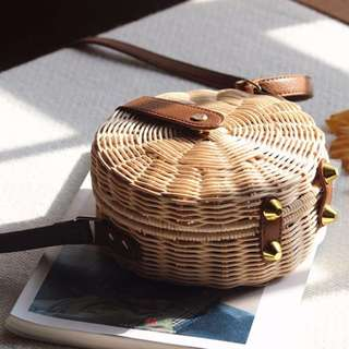 Round Rattan Bag Basket Bag Straw Bag