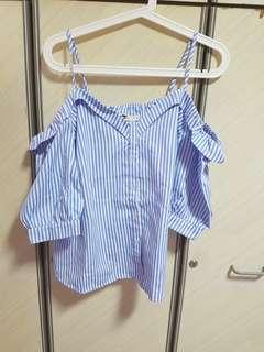 Temt blue/white stripes cold shoulder- uk14