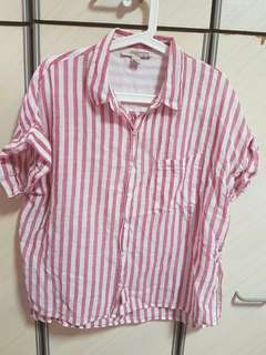 Forever21 red&white stripes top- size s