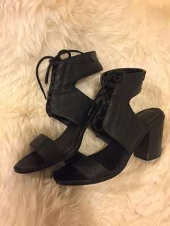 Black lace up heels